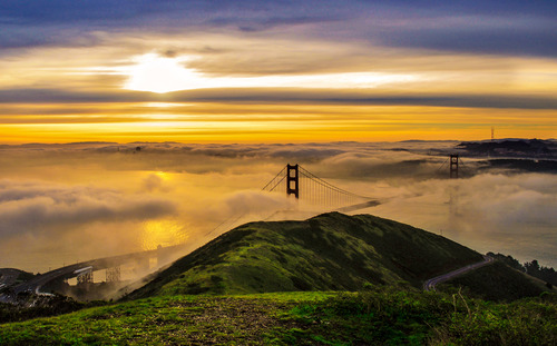 Golden Sunrise Over San Francisco